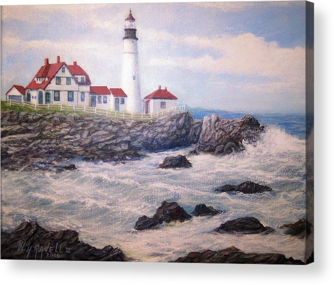 Lighthouse Acrylic Print featuring the painting Portland Head Lighthouse by William H RaVell III