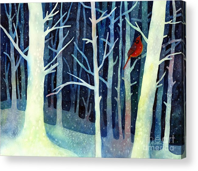 Cardinal Acrylic Print featuring the painting Quiet Moment by Hailey E Herrera