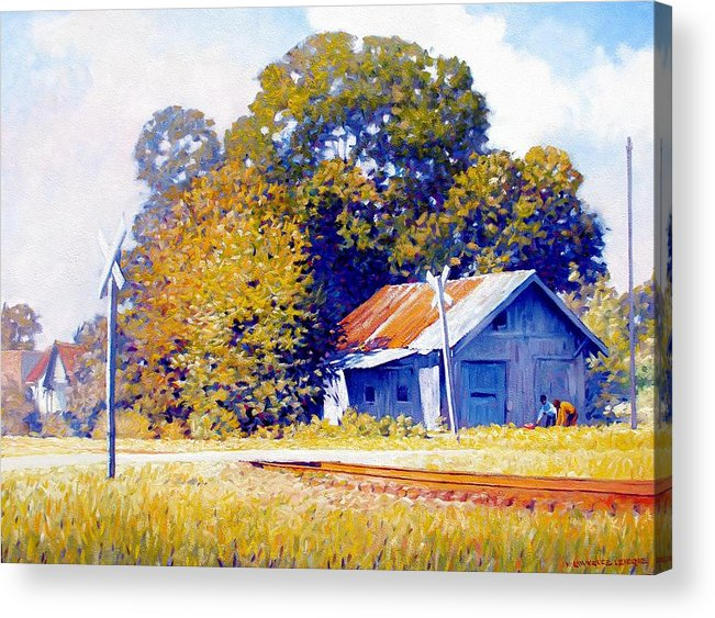 Railroad Track Acrylic Print featuring the painting Railroad Crossing by Kevin Lawrence Leveque