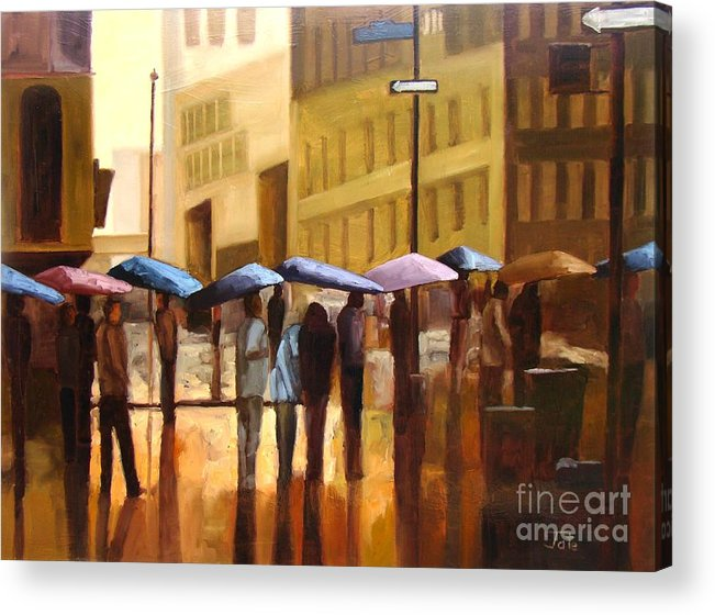Cityscape Acrylic Print featuring the painting Rain in Manhattan number seventeen by Tate Hamilton