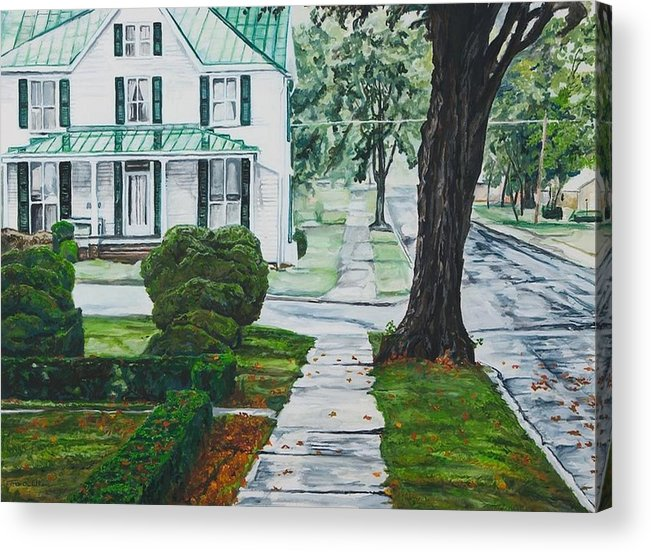 Small Town Acrylic Print featuring the painting Rain on Green Roof by Thomas Akers