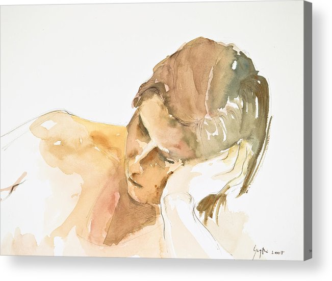 Girl Head Acrylic Print featuring the painting Reclining Head by Eugenia Picado