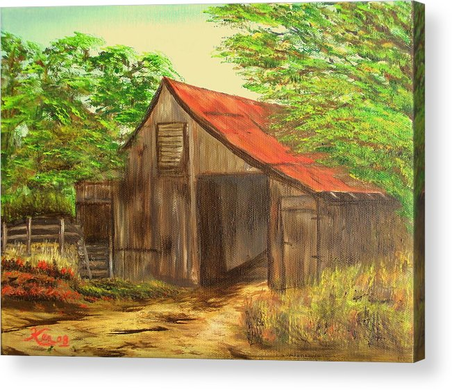 Landscape Acrylic Print featuring the painting Red Roof Barn by Kenneth LePoidevin