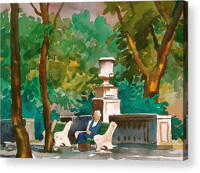 Figure Acrylic Print featuring the painting Rittenhouse Square by Faye Ziegler