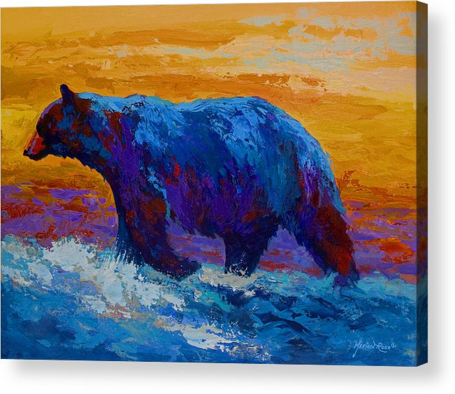 Bear Acrylic Print featuring the painting Rivers Edge I by Marion Rose