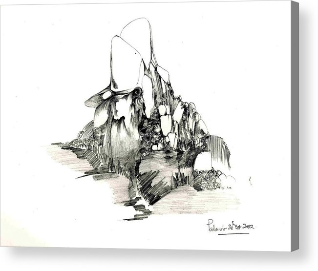 Rocks Acrylic Print featuring the drawing Rocks and some grass by Padamvir Singh