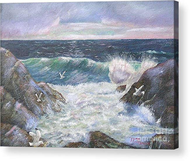 Original Oil Painting Seascape Rocky Shore.  Acrylic Print featuring the painting Rocky Shore by Nicholas Minniti