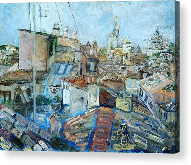 Cityscape Rome Roofs Chimneys Churches Cathedral Acrylic Print featuring the print Roofs of Rome 1 by Joan De Bot