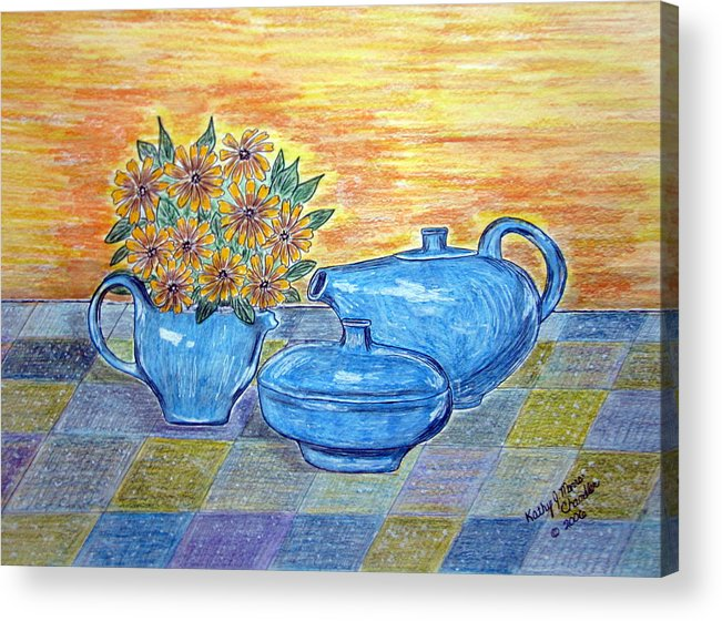 Russell Wright China Acrylic Print featuring the painting Russel Wright China by Kathy Marrs Chandler
