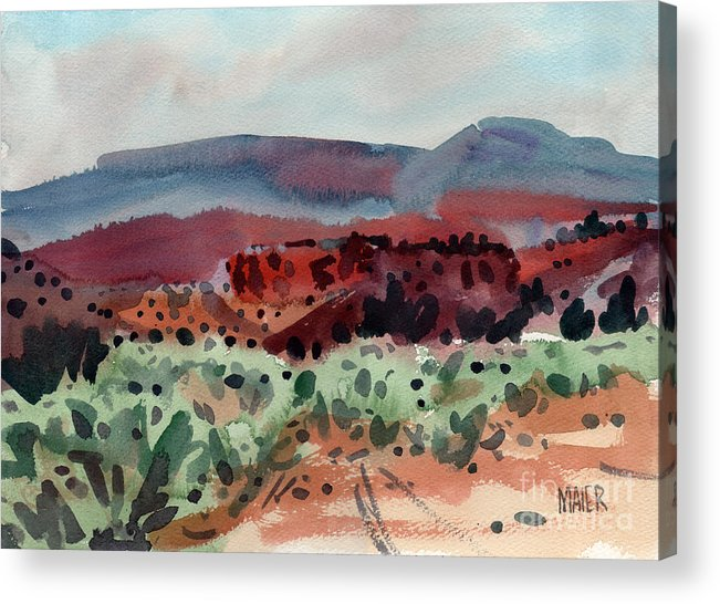 Southwestern Landscape Acrylic Print featuring the painting Sage Sand and Sierra by Donald Maier