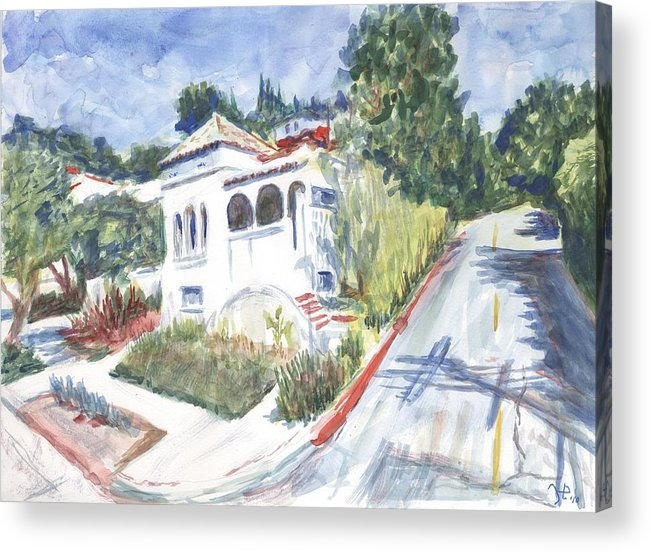 Watercolor Acrylic Print featuring the painting Scenic Avenue by Horacio Prada