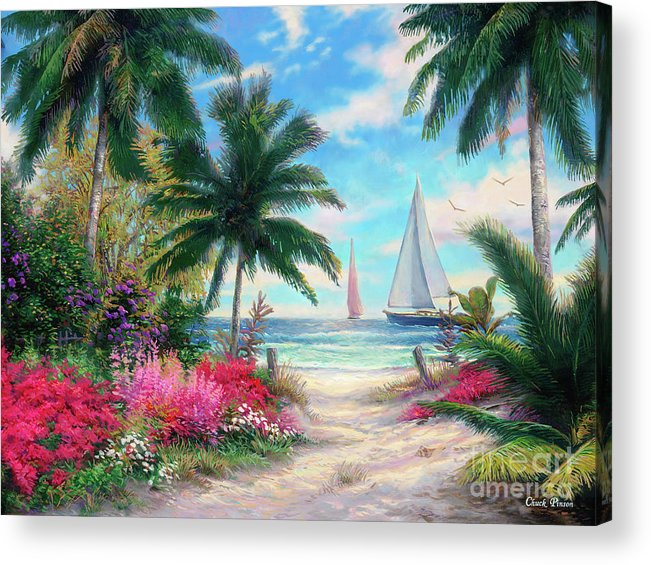 Tropical Acrylic Print featuring the painting Sea Breeze Trail by Chuck Pinson