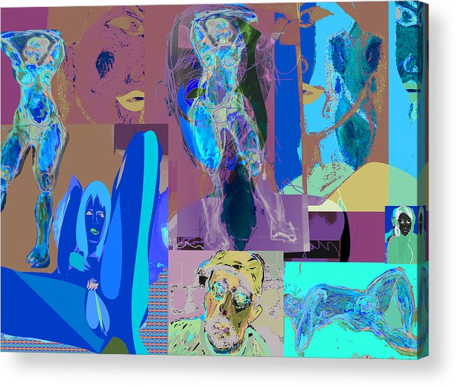Collage Acrylic Print featuring the painting Search For The Real. by Noredin Morgan
