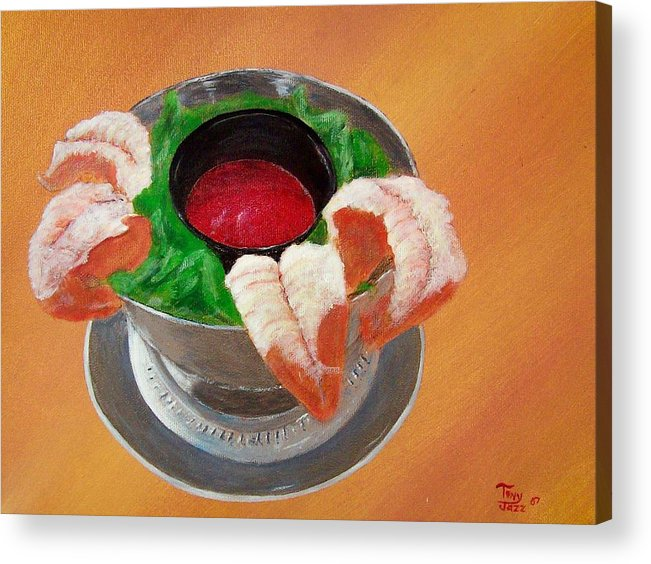 Food Acrylic Print featuring the painting Shrimp Cocktail by Tony Rodriguez