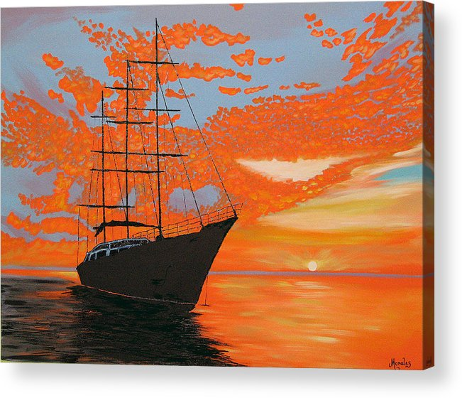 Seascape Acrylic Print featuring the painting Sittin' on the Bay by Marco Morales