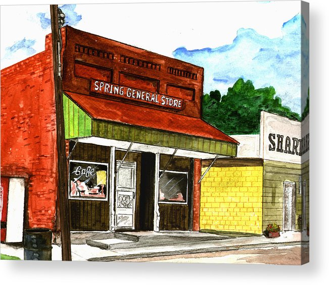 Kevin Callahan Acrylic Print featuring the painting Spring General Store Sharpsburgh Iowa by Kevin Callahan