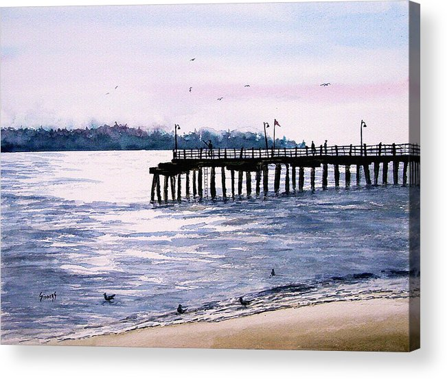 Fishing Acrylic Print featuring the painting St. Simons Island Fishing Pier by Sam Sidders