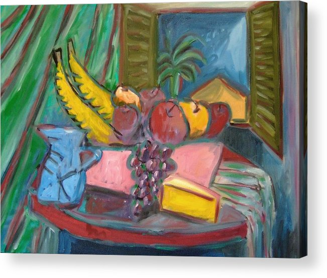 Still Life Acrylic Print featuring the painting Still Life with Window by Michael Henderson