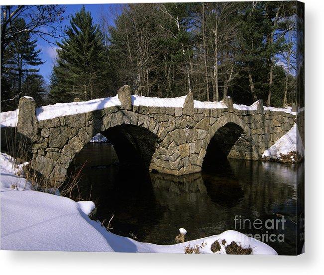 Bridge Acrylic Print featuring the photograph Stone Double Arched Bridge - Hillsborough New Hampshire USA by Erin Paul Donovan