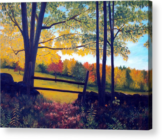 Maine Acrylic Print featuring the painting Stone Fence by Laura Tasheiko