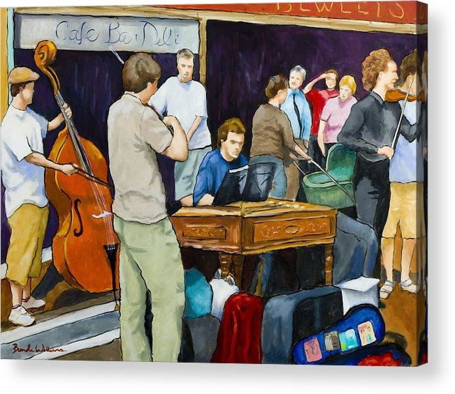 Figurative Acrylic Print featuring the painting Street Musicians in Dublin by Brenda Williams