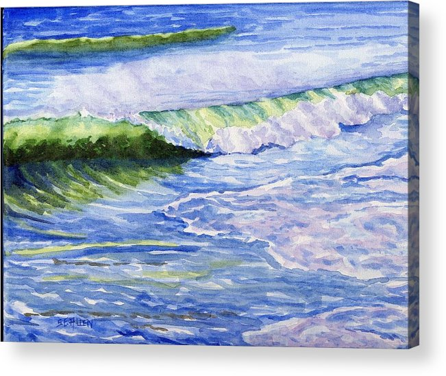 Seascape Acrylic Print featuring the painting Sunlit Surf by Sharon E Allen
