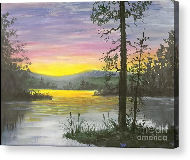 Sunrise Acrylic Print featuring the painting Sunrise Lake by Don Lindemann