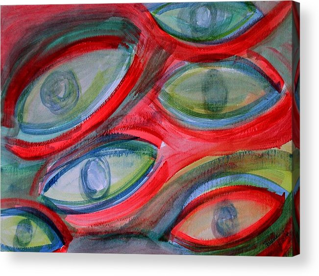 Eyes Acrylic Print featuring the painting Swimming eyes by Margie Byrne
