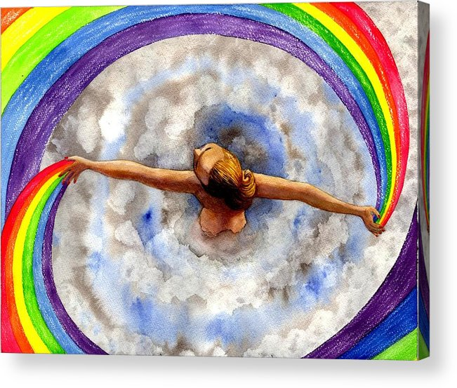 Rainbow Acrylic Print featuring the painting Swirl by Catherine G McElroy