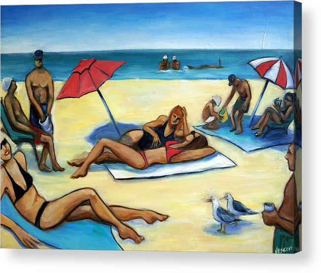 Beach Scene Acrylic Print featuring the painting The Beach by Valerie Vescovi