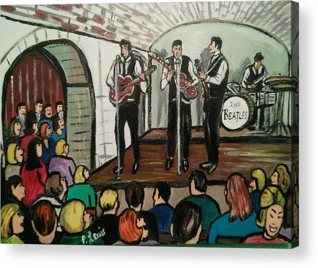 The Beatles Cavern Club Liverpool British Rock N Roll Merseybeat Fab Four Paul Mccartney John Lennon George Harrison Ringo Starr Acrylic Print featuring the painting The Beatles At The Cavern Club Liverpool by Phil Lewis