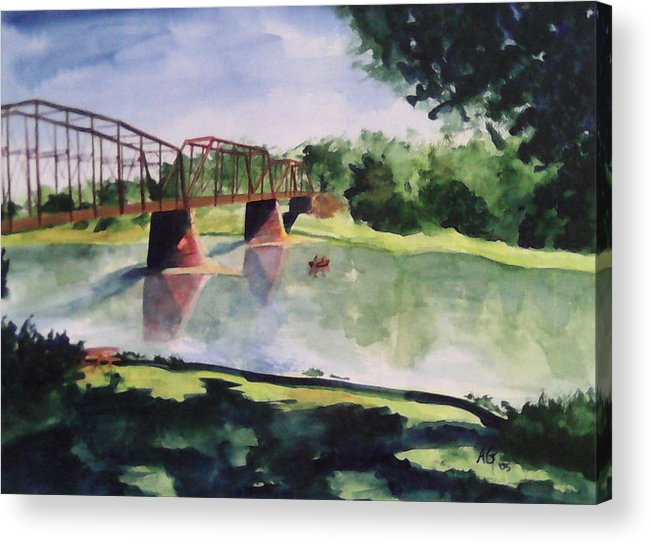 Bridge Acrylic Print featuring the painting The Bridge at Ft. Benton by Andrew Gillette