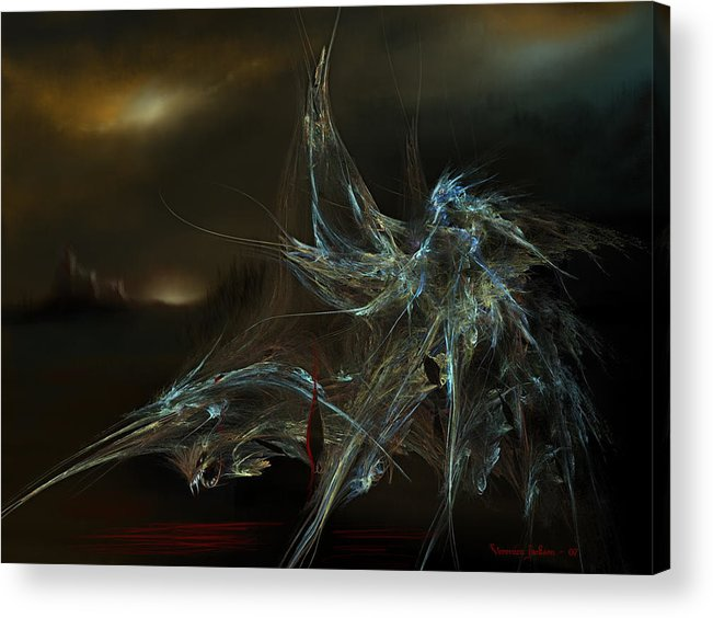 Dragon Warrior Medieval Fantasy Darkness Acrylic Print featuring the digital art The dragon warrior by Veronica Jackson