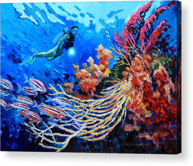Scuba Diver Acrylic Print featuring the painting The Flow of Creation by John Lautermilch