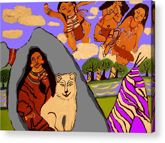 Indian Acrylic Print featuring the painting The Grieving Mother by Betty J Roberts
