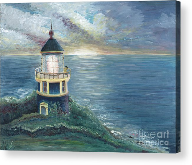 Lighthouse Acrylic Print featuring the painting The Lighthouse by Nadine Rippelmeyer