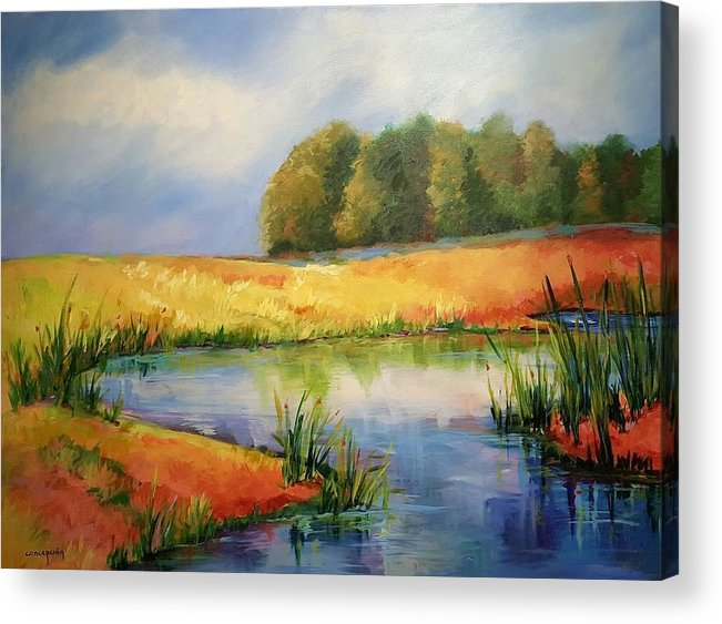 Ponds Acrylic Print featuring the painting The Pond by Ginger Concepcion