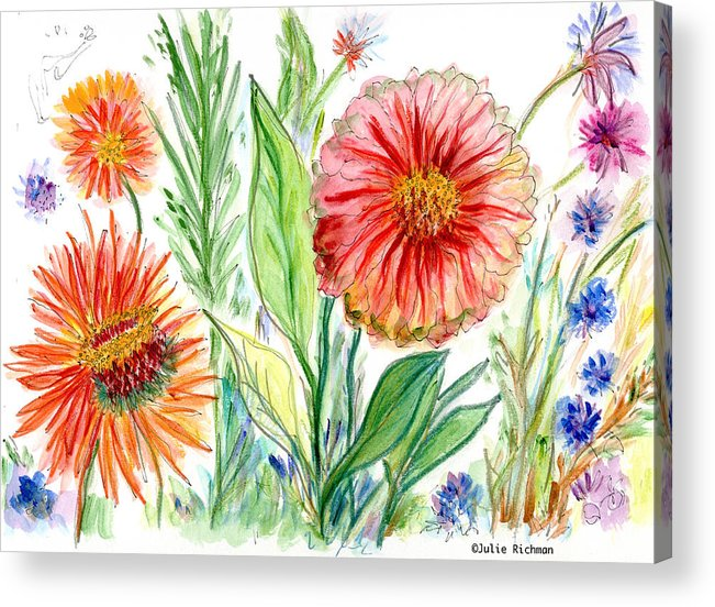 Flowers Nature Botany Drawing Julie Richman Flora Pencil Acrylic Print featuring the painting Three Red Flowers 53 by Julie Richman