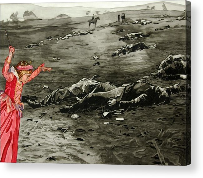 War Acrylic Print featuring the painting Too Late by Valerie Patterson