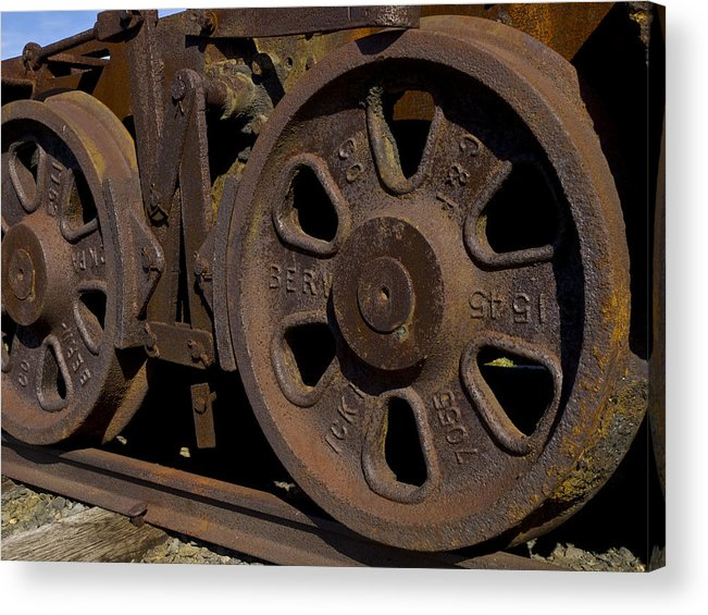 Eckley Village; Historic Structure; Luzerne County; Train Wheels Acrylic Print featuring the photograph Train wheels at Eckley Village by Bob Hahn