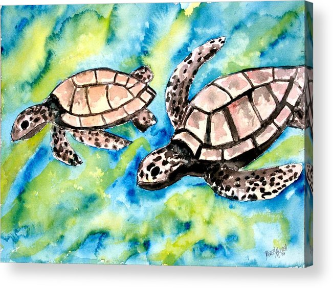 Love Acrylic Print featuring the painting Turtle Love Pair Of Sea Turtles by Derek Mccrea