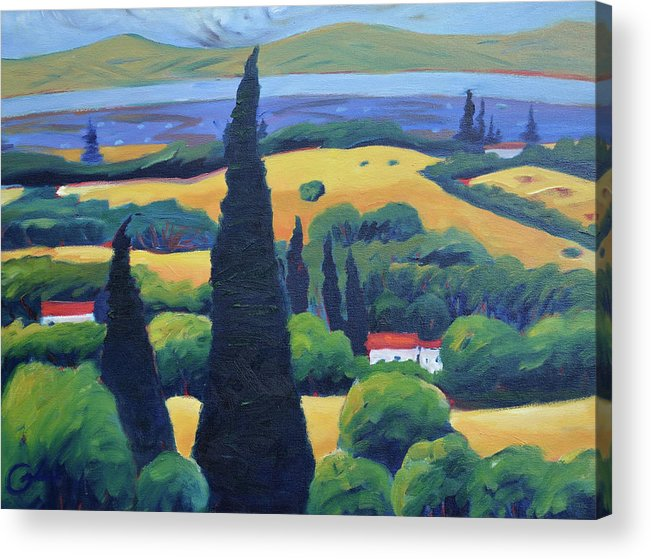 Tuscany Acrylic Print featuring the painting Tuscan Pines and South Bay by Gary Coleman