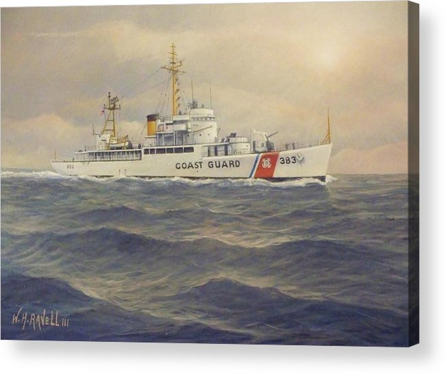 U. S. Coast Guard Cutter Castle Rock Acrylic Print featuring the painting U. S. Coast Guard Cutter Castle Rock - version 2 by William Ravell