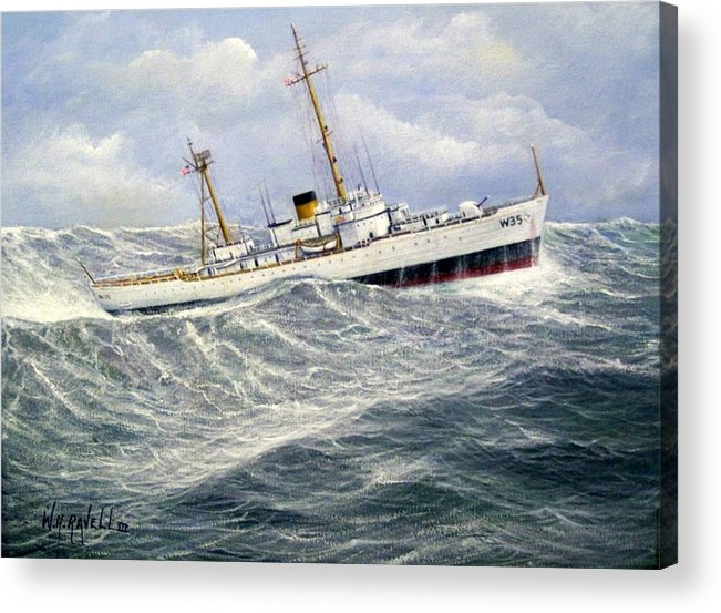 United States Coast Guard Cutter Ingham In Heavy Seas Acrylic Print featuring the painting United StatesCoast Guard Cutter Ingham by William H RaVell III