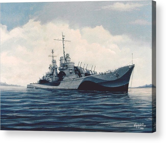 U. S. Navy Acrylic Print featuring the painting USS Cruiser San Juan by William H RaVell III