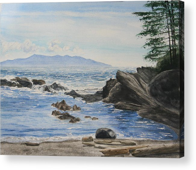 Seascape Acrylic Print featuring the painting Vancouver Island by Monika Degan