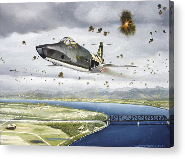 Military Acrylic Print featuring the painting Voodoo Vs The Dragon by Marc Stewart