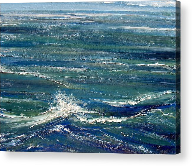 Ocean Acrylic Print featuring the painting White Caps by Pete Maier
