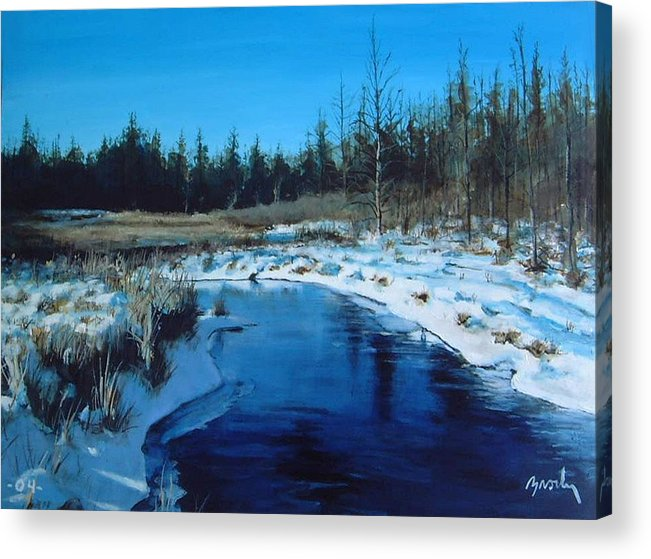 Landscape Realistic Acrylic Print featuring the painting Winter Stream by William Brody