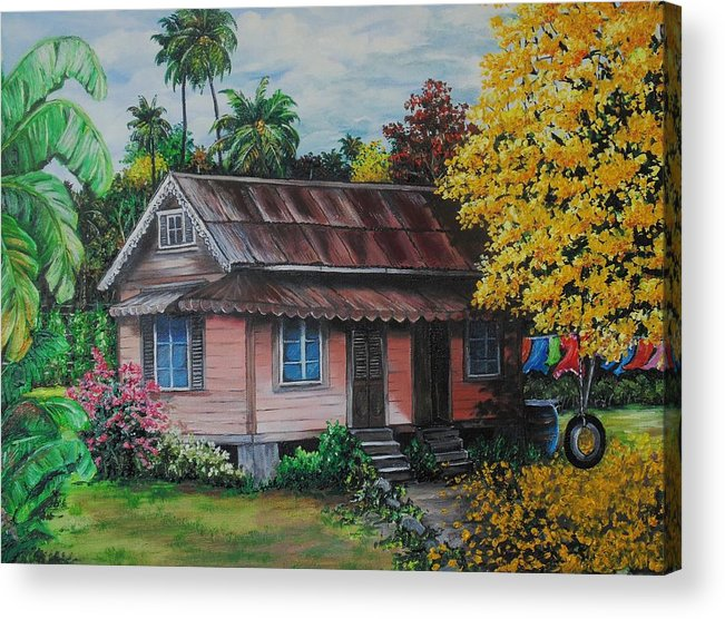 Old House Acrylic Print featuring the painting Yellow Poui Time by Karin Dawn Kelshall- Best
